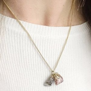 Three Rock Boho Necklace on Faux Gold Chain
